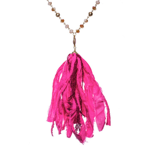 Giada Fuchsia Pink Fabric Tassel Long Necklace