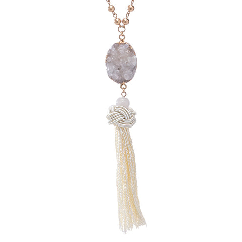 Brooke Druzy Thread Tassel Long Necklace