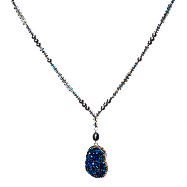 Cassie Blue Druzy Necklace