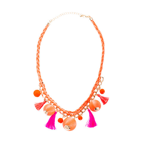 Halsey Ball and Tassel Statement Necklace