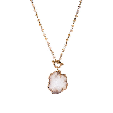 Esme Druzy Beaded Toggle Long Necklace