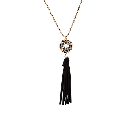 Natalie Colorful Suede Tassel and Crystal Long Necklace