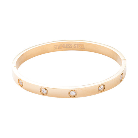 Nadia Gold and Crystal Stud Bangle Bracelet