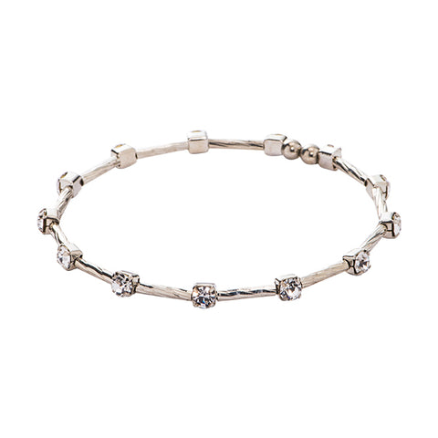 Aria Silver Crystal Bangle Bracelet