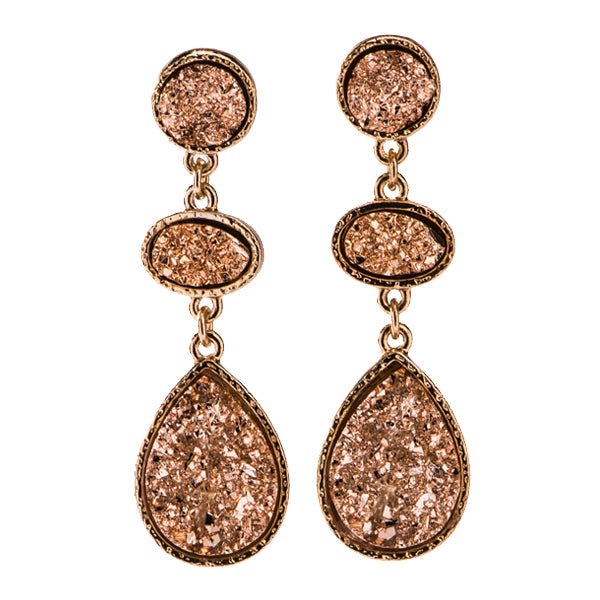Jolie Rose Gold Druzy Earrings