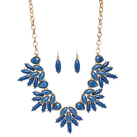 Clara Blue Flower Statement Necklace