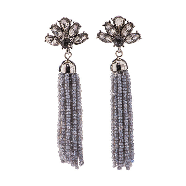 Lotus Floral Beaded Tassel Earrings - 6 colors!