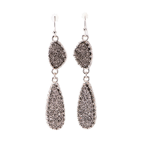 Harlow Silver Hematite Druzy Earrings