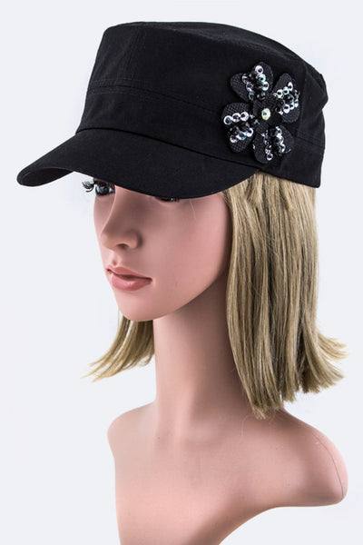 Callie Flower Military Style Cap