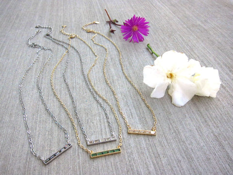 Swarovski Crystal Baguette Bar Delicate Necklace