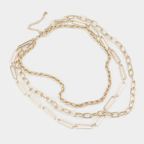 Beckham Triple Layered Metal Chains Necklace - 2 colors!