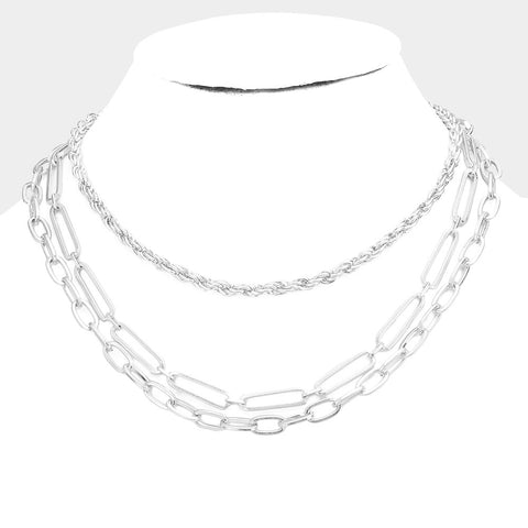 Beckham Triple Layered Metal Chains Necklace - Gold or Silver