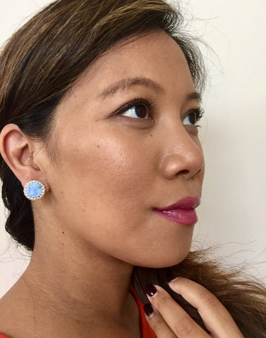 Grace Druzy and Pearl Stud Earrings