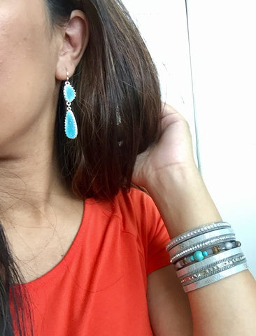 Harlow Aqua Blue Druzy Earrings