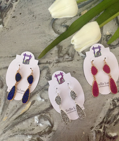 Harlow Fucshia Druzy Earrings