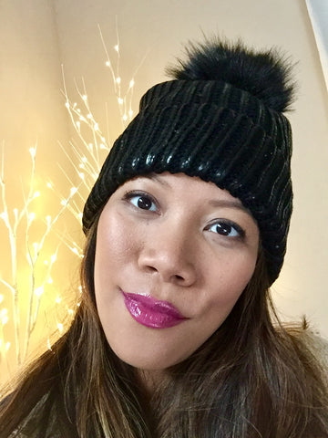 Pascale Metallic Painted Pom Pom Beanie Hat