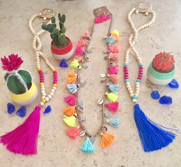 Jamie Natural Bead and Tassel Long Necklace Set