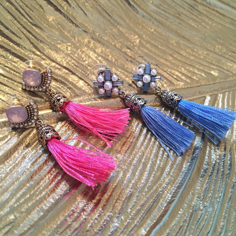 Molly Light Blue Tassel Drop Earrings