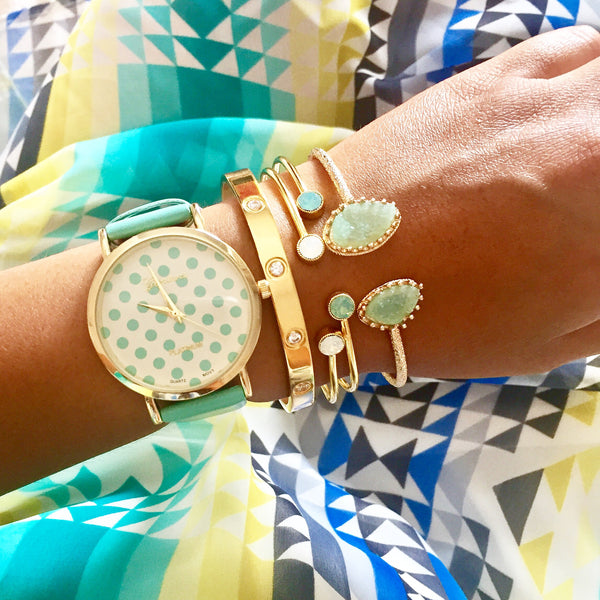 Dottie Mint Green Polka Dot Watch