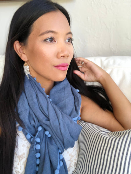 Denim Blue Pom Pom Scarf