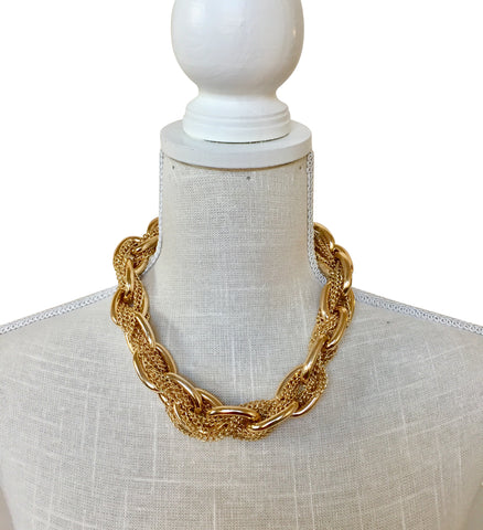Sophie Gold Link and Mesh Collar Necklace