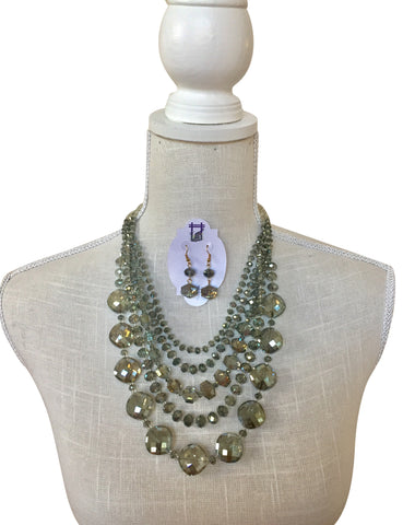 Lucia Glass Bead Multi Strand Necklace Set