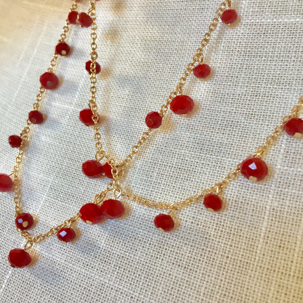 Lourdes Red Necklace