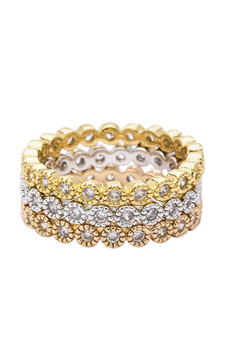 Gia Tri-Tone Crystal Stackable Rings