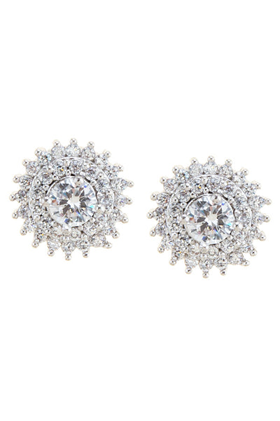 Monique Double Halo CZ Sunburst Studs