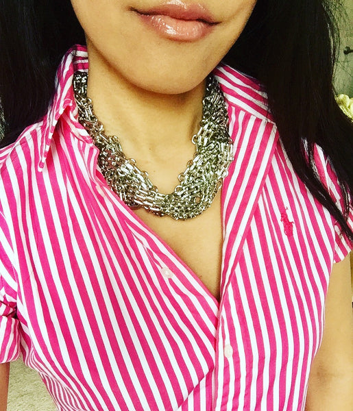 Mia Silver Braided Mesh Collar Necklace
