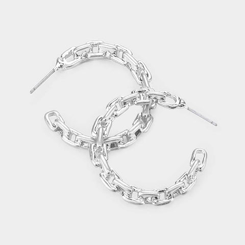 Mercer Metal Chain Link Half Hoop Earrings - Gold or Silver