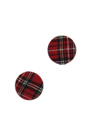 Merry Tartan Plaid Button Earrings