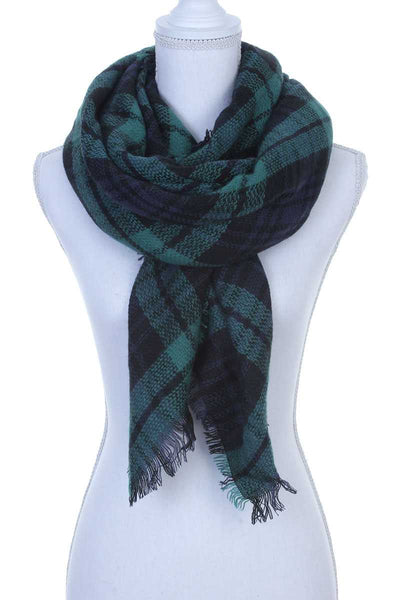 Crewe Green Plaid Blanket Scarf