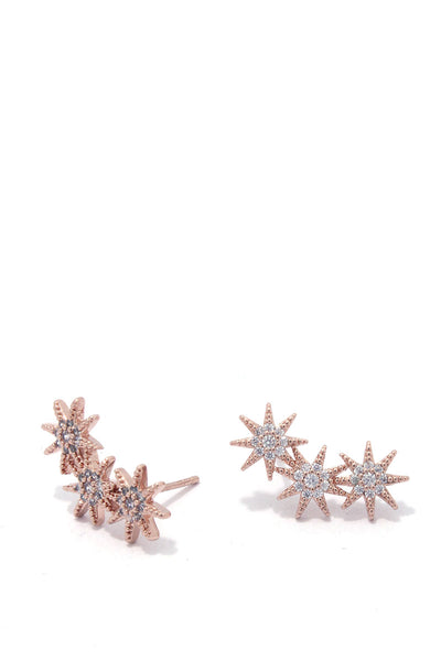 Starlett CZ Triple Star Stud Earrings