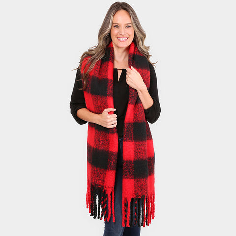Derby Red and Black Buffalo Check Plaid Scarf
