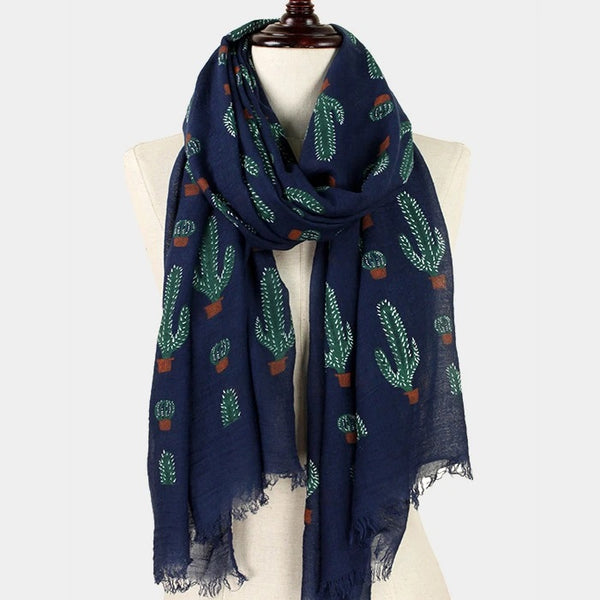 Cactus Printed Lightweight Fashion Scarf - 2 Colors!