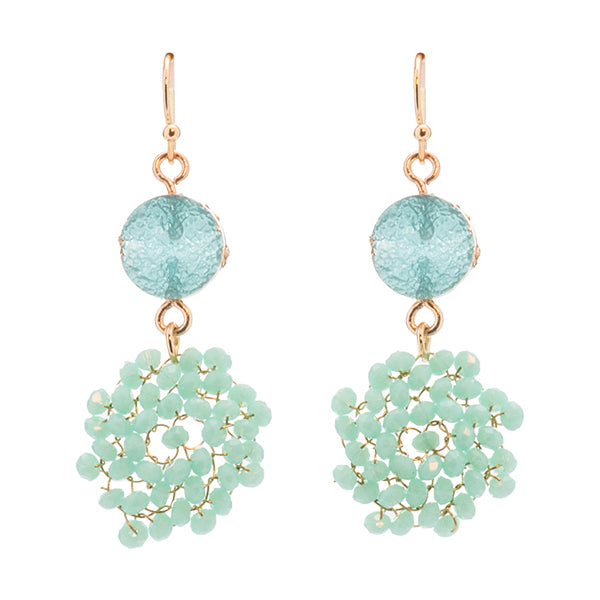Thandie Turquoise Druzy & Beaded Swirl Earrings
