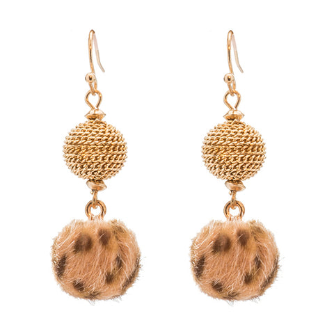Sidra Animal Pom Pom Fuzzy Earrings
