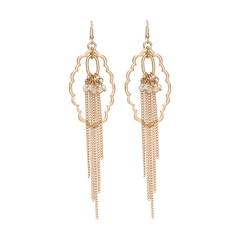 Joanna Cluster Bead Fringe Long Dangle Earrings