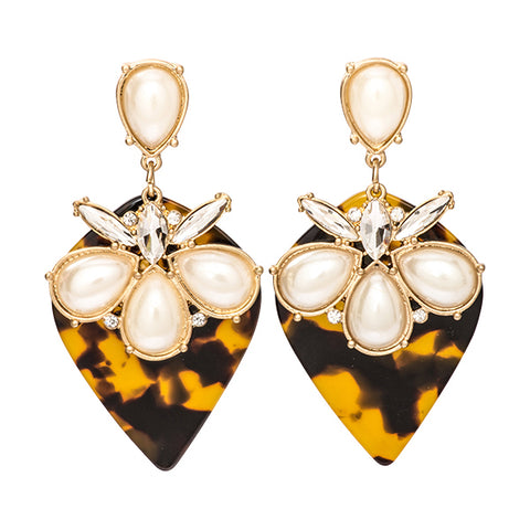 Emma Tortoise Shell and Pearl Earrings