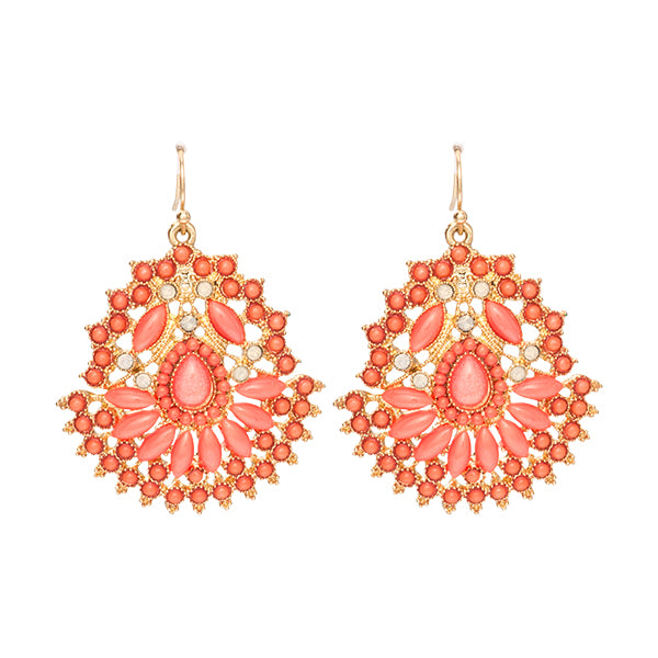 Carly Coral Pink Beaded Filigree Earrings