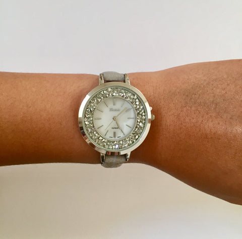 Posha Gray Crystal Face Watch