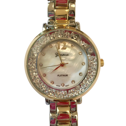 Isabel Two-Tone Floating Crystal Watch