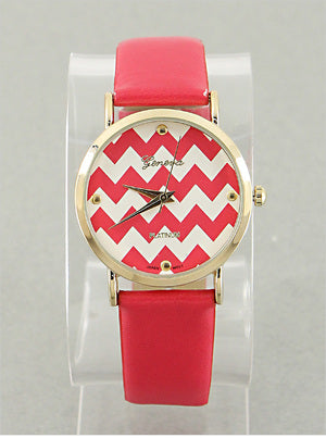Coral Red Chevron Face Watch