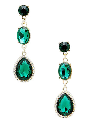 Ana Green Crystal Earrings