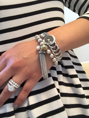Andrea Silver Ball and Tassel Stretch Bracelet