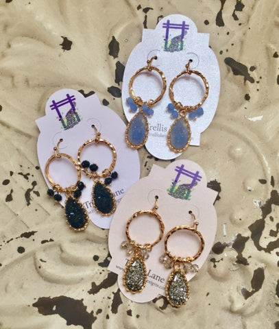 Bella Shimmery Druzy and Gold Dangle Earrings