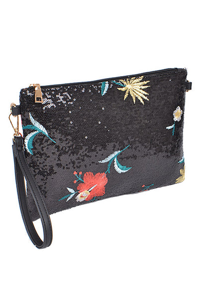 Naya Black Sequin Fancy Clutch Bag