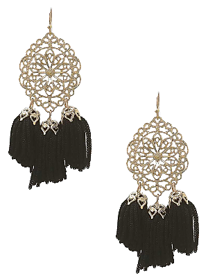 Adora Black Ornate Tassel Earrings