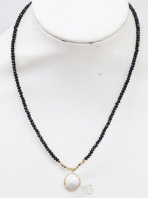 Talulah Black Beaded Pearl Delicate Necklace
